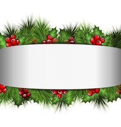 Grayscale blank frame with holly sprigs and pine vector
