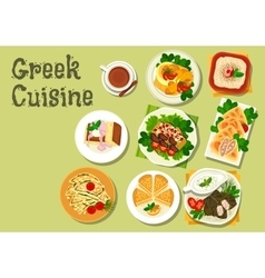 Greek cuisine lunch dishes for menu design vector image