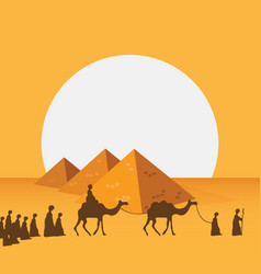 Group of people with camels caravan riding in vector