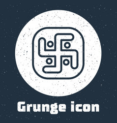 Grunge line jainism icon isolated on grey vector