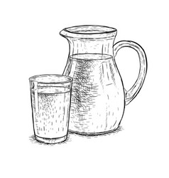 Hand drawn milk jug and glass of milk vector