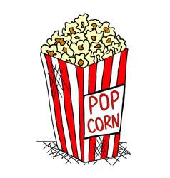 hand drawn pack of pop corn junk food vector image vector image