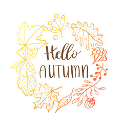 Hand drawn wreath with fall vector
