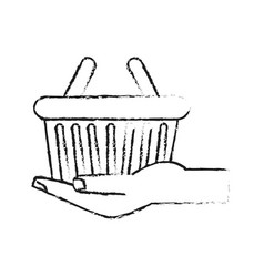 hand holding shopping basket icon image vector image
