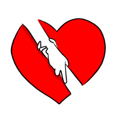 hand holding with help gesture in red heart shape vector image