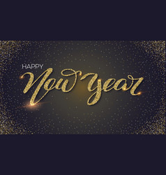 happy new year hand-lettering text of greetings vector image