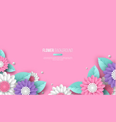horizontal banner with paper cut 3d flowers in vector image
