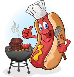 hot dog cartoon grilling on a barbeque vector image