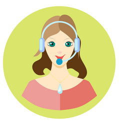 Icon girl call center employee in a flat style vector