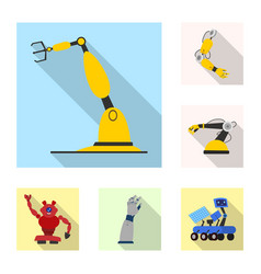 Isolated object robot and factory icon set of vector