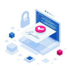 Isometric digital signature concept with tablet vector
