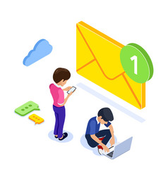 Isometric flat email notification concept email vector