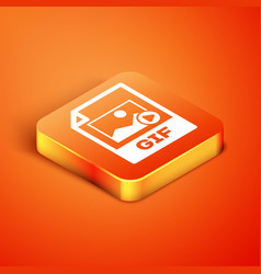 Isometric gif file document download gif button vector