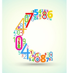 Letter C colored font from numbers vector
