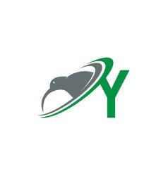 Letter y with kiwi bird logo icon design vector