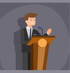 Man with blazer suit speaking at podium flat vector