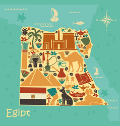map egypt with traditional symbols vector image