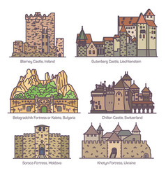 Medieval castles or old fortress architecture set vector