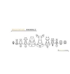 Meditative Animals - Thin line icons vector image