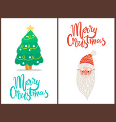 merry christmas tree and santa vector image