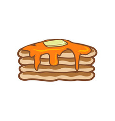 monster pancakes stacked with butter and syrup vector image