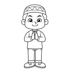 Moslem boy greeting salaam bw vector