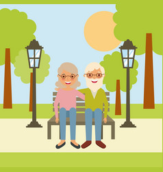old man grandpa and grandma sitting in bench the vector image