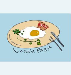 omelette breakfast serving vector image