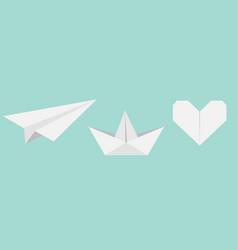 origami paper plane boat ship heart icon set gray vector image