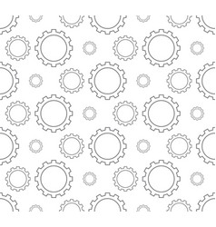 Outline gear pattern seamless on white background vector