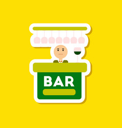 paper sticker on stylish background poker bar vector image