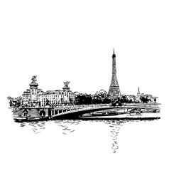 paris cityscape eiffel tower bridge alexandre iii vector image