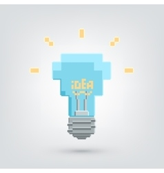 Pixel art light bulb with idea word vector
