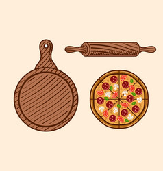 pizza set colored objects or elements vector image
