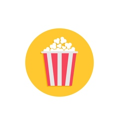 Popcorn Cinema round circle icon in flat design vector