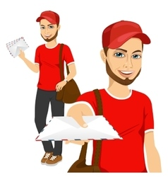 post man in red uniform delivering mail vector image