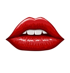 Red lips on white background Hand drawn vector image