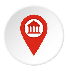 Red map pin icon circle vector