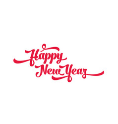 red text on a white background happy new year vector image