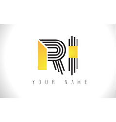 Ri black lines letter logo creative line letters vector