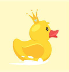 Rubber duck with golden crown vector