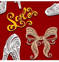 Seamless Ornate Pattern with Shoes vector