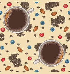Seamless pattern with coffee almond and berries vector