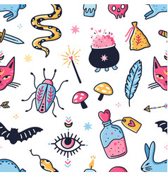 seamless pattern with magical objects for fortune vector image