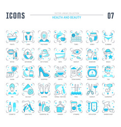 Set blue line icons health and beauty vector
