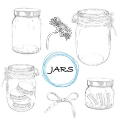 set hand drawn jars Vintage vector image