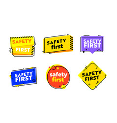 Set icons safety first zero accident graphic vector