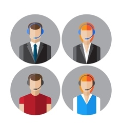 Set of icons with the callcenter agents talking vector