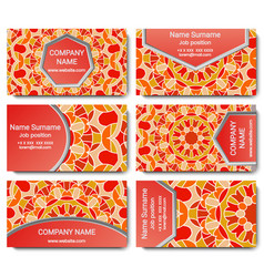 set of visiting card with mandala vector image