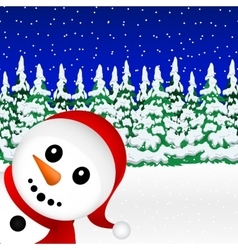 Snowman in the forest holiday vector